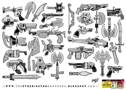 32 Gun Sword Bow Knife weapon designs and concepts by STUDIOBLINKTWICE
