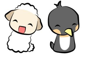 Sheep and Penguin by ChobiChibi