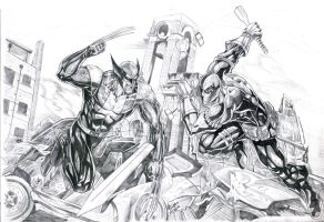 Wolverine vs. Deathstroke by jey2dworld