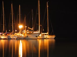 Sailboats at Night by TimeFuse