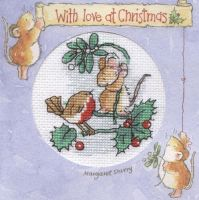 Mouse and robin Christmas card cross stitch by Lil-Samuu