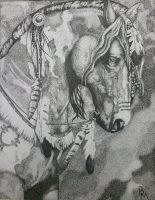 Native American Horse Pointillism by brenkat