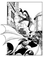 Batman vs. Mysterio, black and white by johntrumbull
