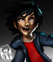 Big Hero 6 sketch and my painting!. by Gman20999