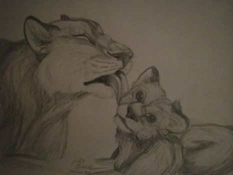 Lion Mom and Baby by WYNTERFANG