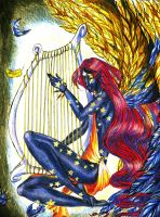 angel of teh night and sunset by pUmpkinhead666