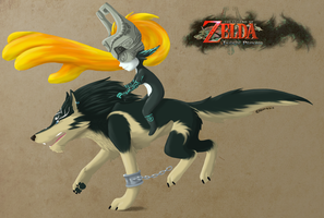 Link and Midna - Zelda Twilight Princess by Psycho-patte