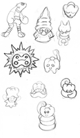 Misc Fakemon sketches by Trueform