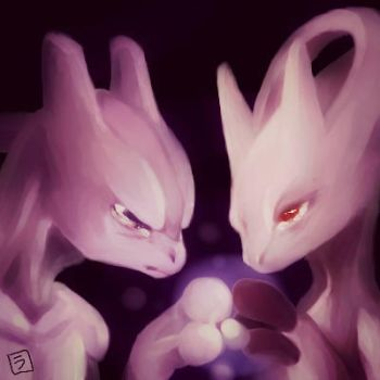 Mewtwo and his new friend...xD by niwatori