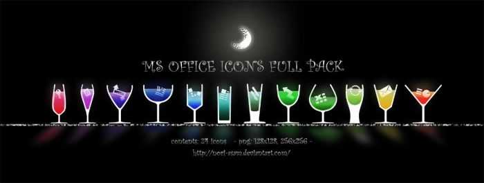 MS OFFICE ICONS  with alcohol by nori-asam