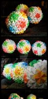 3 Sonobe Origami Balls by lonely--soldier