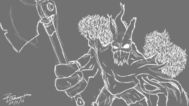 Grover from Paladins raw Sketch by franciscoo03