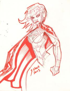 Supergirl Red Ink by JamesLeeStone