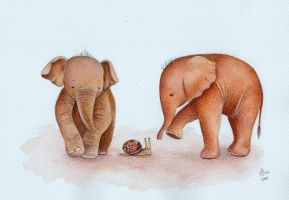 Curious Baby Elephants by IreneShpak