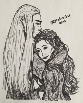 Thranduil and Tauriel embrace by CR-MediaGal