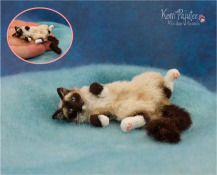 Miniature Cat sculpture of polymer clay / fiber by Pajutee
