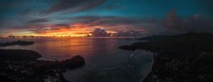 Sunset over the ocean by fly10