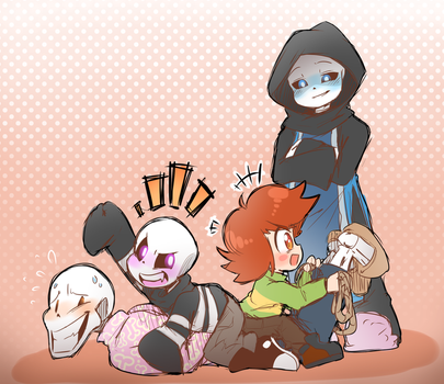 skelefamily and chara fun times by thegreatrouge