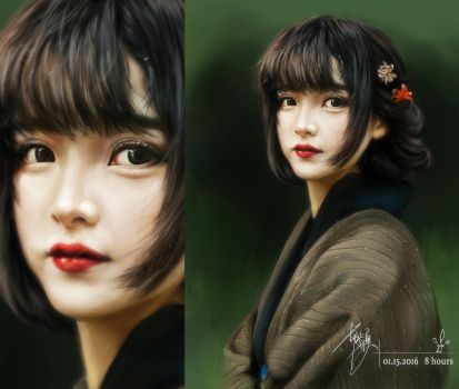 A lovely lady in Kimono by yuilovepainting