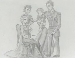 Royal Family ( Pencil Version) by sliverseven