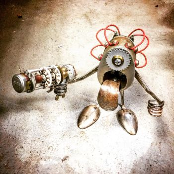 Found object robot sculpture by Brian Marshall  by adoptabot