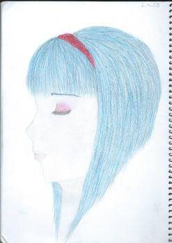 Blue hair, red band by Mayble-Leaf