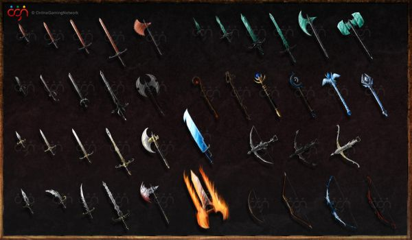 Dark Warriors - game weapons by ShadowDragon22