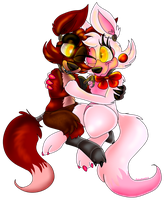 Chibi Foxy and Mangle by PlagueDogs123