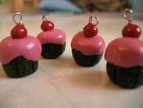 Mini Chocolate Raspberry Cupcake Charms by Iamagrape