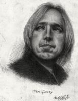 Tom Petty in Pencil 1999 by dwightyoakamfan