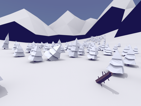 Winter forest low poly landscape render by Thierry-ThefoxGamer