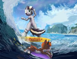 Surfing Zecora by SuperRobotRainbowPig