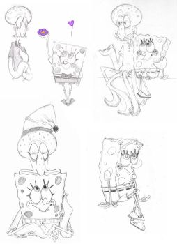 Squidbob Sketches by LeweArte