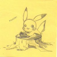 Pikachu Eating Cake Off Stump by TheAsianArtists