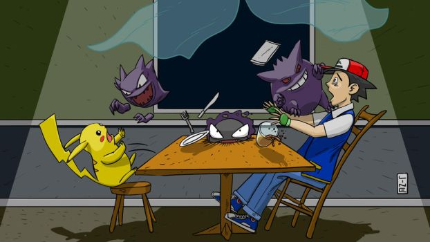 Pokemon Pikachu, Haunter, Gastly, Gengar and Ash by LineDetail