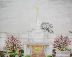 Memphis Tennessee LDS Temple Rain by Ridesfire