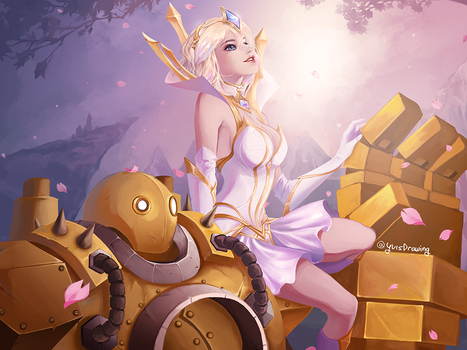 Blitzcrank and Elementalist Lux by Yuis-Drawing