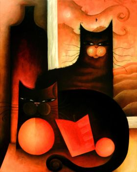 Two Cats by a Window by dk-art