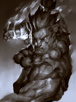 Raging Demon Sketch by JimboBox
