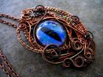 Rainbow Peacock Copper Wire - Dragon eye pendant by LadyPirotessa