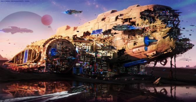 The Space Station in the Space Ship by Neytirix