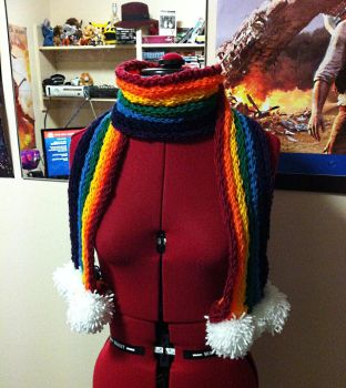 Finger knitted rainbow and cloud scarf by TombRaiderKuchen