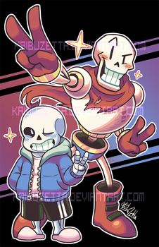 Sans and Papyrus Poster by Kaibuzetta