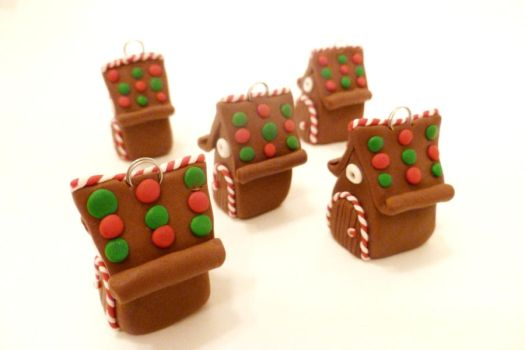 Miniature Gingerbread Fairy House Ornament set by FlyingFrogCreations