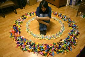 1000 Paper Cranes and Me by gilbertron