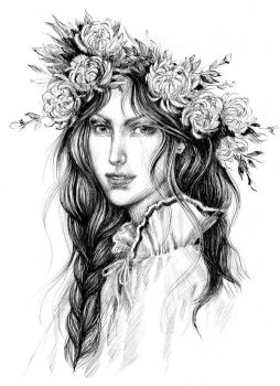 The girl in a wreath of chrysanthemums by DalfaArt