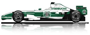 Starbucks F1 car by andyblackmoredesign