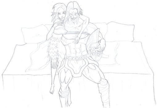 Perseus and Aeris WIP by blazewb