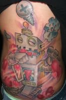 heart eating robot by jasonvogttattoo
