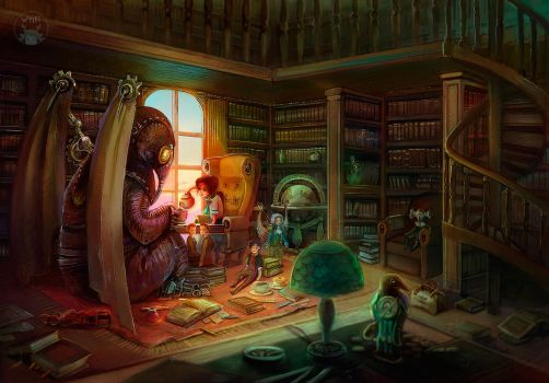 library tea party by WylfiArt